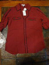 Slim Fit Dark Red (Burgundy) Contrast Piped Portofino Shirt S/P $49.90