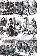 Galaway Ireland 1880 IRISH WOMEN QUAY Making Twine Matted Antique Print w STORY