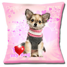 "CUTE LONG HAIR CHIHUAHUA PUPPY SWEATER 'I LOVE MY DOG'16"" Pillow Cushion Cover"
