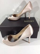 BADGLEY MISCHKA Womens Accent Pink Satin Peep Toe Evening Heel Shoes Sz 9 ZD-594