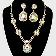 Aurora Borealis diamante crystal necklace set statement bling bridal party prom
