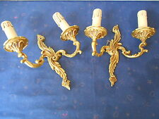 PAIR Antique French solid brass  WALL Light SCONCES / LOUIS XV