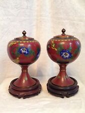 "Pair of Antique 19c. Chinese Cloisonné Red Jars Lid Vases 9.5"" Mahogany Stands"
