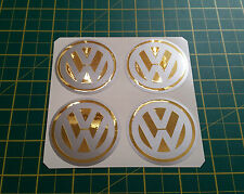 4 x 60mm ALLOY WHEEL STICKERS VW logo Gold Effect on Silver centre cap badge
