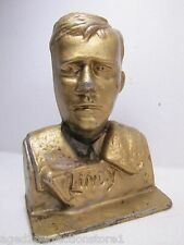 Antique Cast Metal 'Lindy' Charles Lindbergh Doorstop Bookend old gold paint