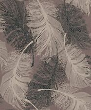 Coloroll Feather Wallpaper M0962 - Feathers Quill Glitter Chocolate Beige Silver