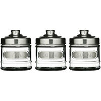 Set of 3 Tea, Coffee & Sugar Kitchen Storage Glass Container Canisters Jars Pots