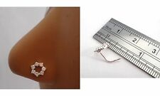 Sterling Silver Nose Stud Pin Ring L Shape Post Clear Crystal Star 20g 20 gauge