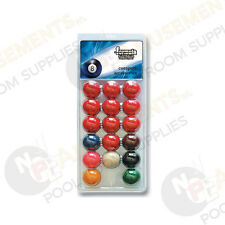 "Pack of Recreational Snooker BALLS 1 & 7/8"" inch Set (1 & 7/8"" White Cue Ball)"