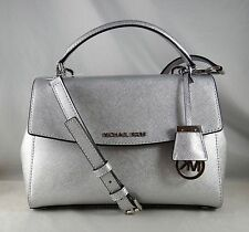 MICHAEL MICHAEL KORS AVA SMALL SILVER  LEATHER TOP HANDLE SATCHEL BAG