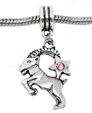 Zodiac Capricorn Goat Pink Rhinestone Dangle Bead for European Charm Bracelets