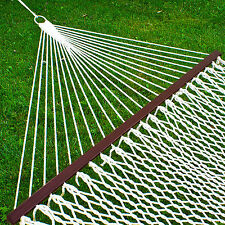 "Hammock 59"" Cotton Double Wide Solid Wood Spreader Outdoor Patio Yard Hammo"