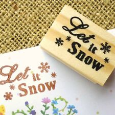 Let it Snow Christmas Wooden Rubber Stamp Snowflake Card Making Greetings Crafts