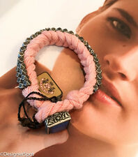 "$58 New Juicy Couture PINK Braided Rope Metal Rhinestone 7 1/4 - 7 1/2"" Bracelet"