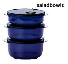 TUPPERWARE New VENT N SERVE 3 Pc SMALL ROUND Set Indigo Containers/Lids fREEsHIP