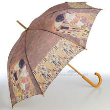 "Cascada Collection Artist Print Wood Handle Walking Umbrella - Klimt ""The Kiss"""