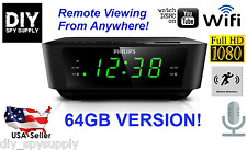 1080P WiFi 64GB HD Spy Camera Alarm Clock. Full HD Motion Detection Remote View
