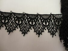 """1 7/8"""" Wide  BLACK  Victorian Inspired Delicate  Venise Lace Trim - BTY"""