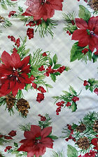 NWT PINE CONES FLORAL CHRISTMAS TABLECLOTH VINYL FLANNEL WINTER HOLIDAYS 52x90