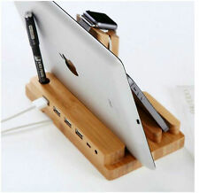 4 in 1 Wooden Desk Stand Holder Charge Dock Station 4USB For iWatch iPhone iPad