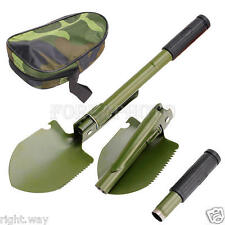 "Folding Shovel 16"" Camping Garden Military Style Survival w/ Pick Tool & Case"