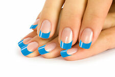 12 FRENCH FALSE NAIL TIP CLEAR NAILS WITH BLUE TIPS IN 10 SIZE + 2 g. GLUE