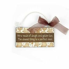 Fun Gingerbread Man Wall Plaque Christmas Ribbon Bow Brown Perfect Man XBA063