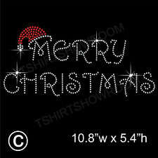 Merry Christmas Rhinestone/Diamante Transfer Hotfix Iron on Motif + free gift