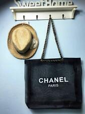 CHANEL Black Mesh Shopping Travel Tote bag Counter Leather Chain VIP Gift- Large