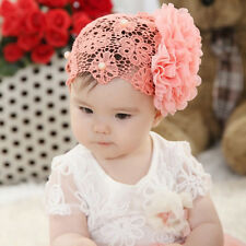 1pc Baby Kids Girl Toddler Lace Flower Headband Hair Bow Band Headwear