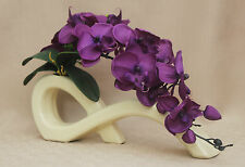 ARTIFICIAL SILK 2 STEMS PURPLE MOTH ORCHIDS IN CREAM BOW VASE-WEDDING, TABLE DEC