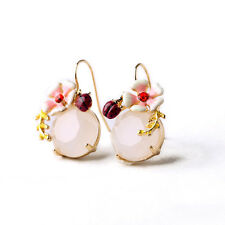 BEAUTIFUL ZARA OPAL WHITE STONE FLOWER DROP EARRINGS NEW LES BELLE