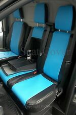 FORD TRANSIT CUSTOM 2015 VAN SEAT COVERS MADE TO MEASURE BLUE + BLACK
