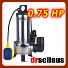 SUBMERSIBLE SEWAGE DIRTY WATER PUMP 0.75HP STAINLESS STEEL BODY