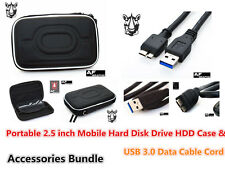 CF47 USB 3.0 Data Cable + Hard Case for Hitachi HGST Touro S External Hard Drive