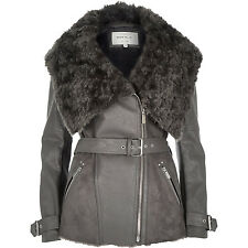 Gorgeous RIVER ISLAND Dark Grey Combined Jacket With Belt & Fur Collar UK 12