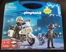 Playmobil Police Motorcycle With Carrying Case Play Set 5891 32 Pieces Brand New
