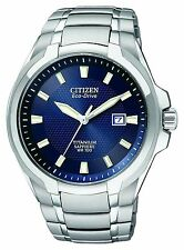 New Citizen Mens Titanium Blue Dial Eco-Drive Watch BM7170-53L Retail $350