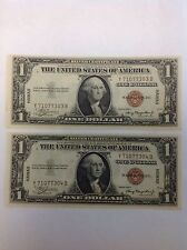 1935A 1.00 Hawaii Overprint Wartime Currency 2 Consecutive Notes Ch. UNC