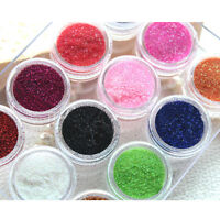 Nail Art Glitter Beads Powder Dust Tips Decoration For Acrylic UV Gel 12 Colors