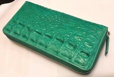 GENUINE CROCODILE WALLETS SKIN LEATHER BONE ZIPPER WOMEN'S GREEN CLUTCH BAGS
