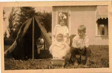 Old Vintage Antique Photograph Two Children & Baby in Yard By Tent
