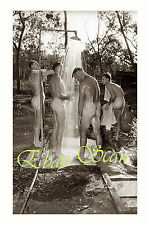 VINTAGE 1940's PHOTO NUDE WWII SOLDIERS BATHE IN OUTDOORS SHOWER GAY INTEREST 57