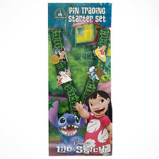 Disney Parks Lilo and Stitch Lanyard Starter Pins Parks Booster Trading Pin Set