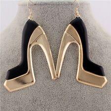 E1579 New Women Gold Plated Alloy Ear Hook Black Enamel High Heel Shoes Earrings