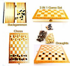 3 in 1 Wooden Board Backgammon Game Set Compendium Travel Chess Draughts Games