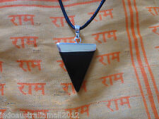 BLACK AGATE Healing Chakra Gemstone Stone Triangle Silver Pendant Necklace