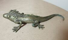 antique solid nickel plated bronze lizard statue paperweight figure 8.5 inches