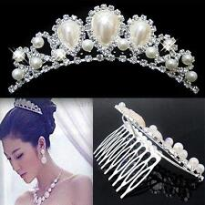 Wedding Party Bridal Comb Tiara Pearl Crystal Crown Pageant Hair Headband A14