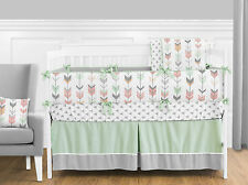 SWEET JOJO PEACH PINK GREY WHITE WOODLAND ARROW GIRL ROOM BABY BEDDING CRIB SET